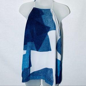 Calvin Klein blue/white abstract print tank, sz M